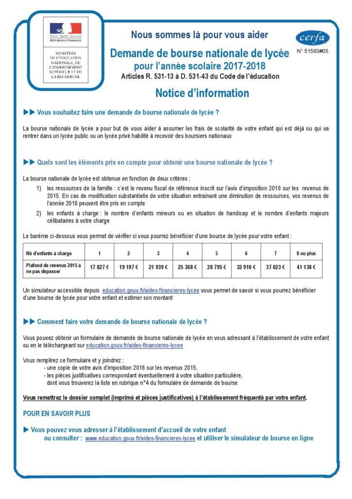 bourse lycée 2017-2018 notice d'information